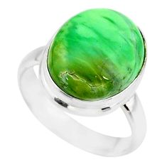 9.54cts natural green variscite 925 silver solitaire ring jewelry size 7 r83627