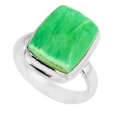 6.53cts natural green variscite 925 silver solitaire ring jewelry size 7 r83631