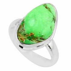 9.61cts natural green variscite 925 silver solitaire ring jewelry size 7 r83638