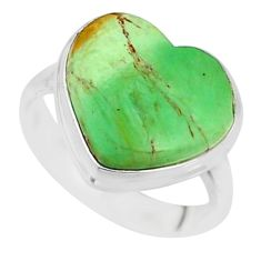 8.69cts natural green variscite 925 silver solitaire ring jewelry size 7 r84626