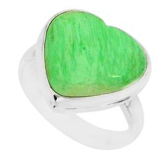 8.44cts natural green variscite 925 silver solitaire ring jewelry size 7 r84630