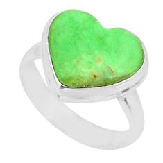 7.62cts natural green variscite 925 silver solitaire ring jewelry size 7 r84694