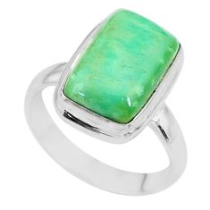 5.84cts natural green variscite 925 silver solitaire ring jewelry size 7 t11177