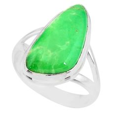 9.86cts natural green variscite 925 silver solitaire ring jewelry size 8 r83621