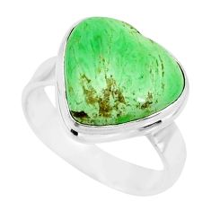 10.31cts natural green variscite 925 silver solitaire ring jewelry size 8 r83630