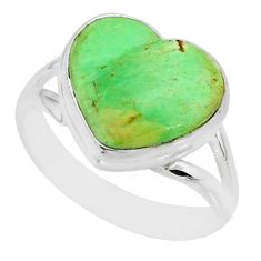 7.67cts natural green variscite 925 silver solitaire ring jewelry size 8 r84628