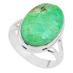 10.81cts natural green variscite 925 silver solitaire ring jewelry size 8 t11174