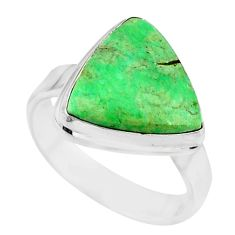 11.23cts natural green variscite 925 silver solitaire ring jewelry size 9 r83623
