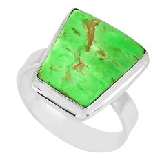 13.55cts natural green variscite 925 silver solitaire ring jewelry size 9 r83629