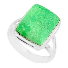 10.76cts natural green variscite 925 silver solitaire ring jewelry size 9 r83635