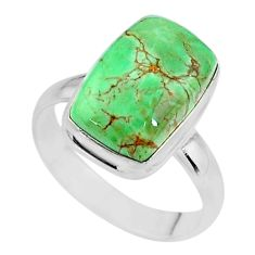 6.34cts natural green variscite 925 silver solitaire ring jewelry size 9 t11175