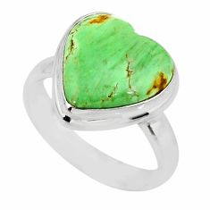 10.02cts natural green variscite 925 silver solitaire ring size 7.5 r83636