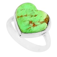 8.80cts natural green variscite 925 silver solitaire ring size 7.5 r84634