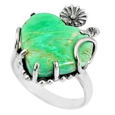 11.66cts natural green variscite heart 925 silver heart ring size 7 r67504