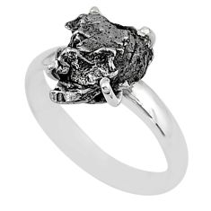 5.43cts natural grey campo del cielo (meteorite) 925 silver ring size 7 t2063