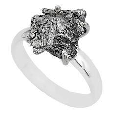 6.03cts natural grey campo del cielo (meteorite) 925 silver ring size 7 t2065