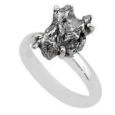 4.80cts natural grey campo del cielo (meteorite) 925 silver ring size 7 t2069