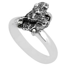 5.81cts natural grey campo del cielo (meteorite) 925 silver ring size 7 t2070