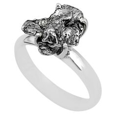 4.99cts natural grey campo del cielo (meteorite) 925 silver ring size 7 t2073