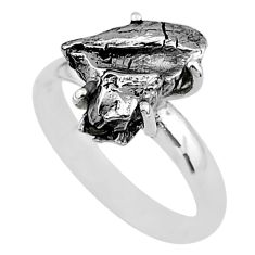 5.22cts natural grey campo del cielo (meteorite) 925 silver ring size 7 t2076