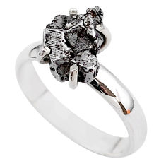 4.71cts natural grey campo del cielo (meteorite) 925 silver ring size 7 t2081