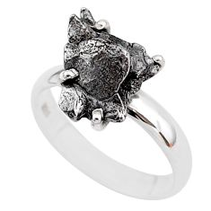5.23cts natural grey campo del cielo (meteorite) 925 silver ring size 7 t2085