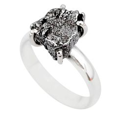 5.81cts natural grey campo del cielo (meteorite) 925 silver ring size 7 t2089
