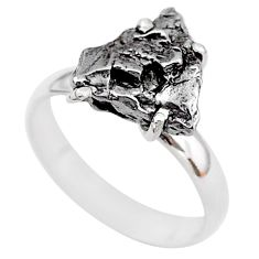5.23cts natural grey campo del cielo (meteorite) 925 silver ring size 7 t2091