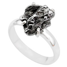 5.81cts natural grey campo del cielo (meteorite) 925 silver ring size 7 t2092