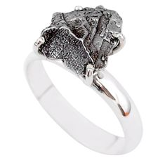 6.03cts natural grey campo del cielo (meteorite) 925 silver ring size 7 t2099