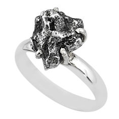 5.53cts natural grey campo del cielo (meteorite) 925 silver ring size 8 t2062