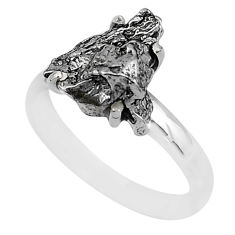 6.70cts natural grey campo del cielo (meteorite) 925 silver ring size 8 t2064