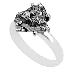 5.80cts natural grey campo del cielo (meteorite) 925 silver ring size 8 t2068
