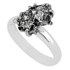6.36cts natural grey campo del cielo (meteorite) 925 silver ring size 8 t2074