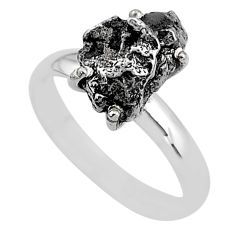 5.24cts natural grey campo del cielo (meteorite) 925 silver ring size 8 t2075
