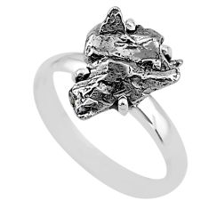 5.82cts natural grey campo del cielo (meteorite) 925 silver ring size 8 t2077