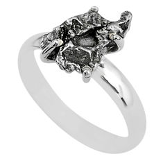 5.23cts natural grey campo del cielo (meteorite) 925 silver ring size 8 t2078