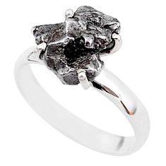 6.72cts natural grey campo del cielo (meteorite) 925 silver ring size 8 t2082