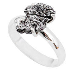 5.02cts natural grey campo del cielo (meteorite) 925 silver ring size 8 t2084