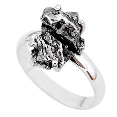 6.36cts natural grey campo del cielo (meteorite) 925 silver ring size 8 t2086
