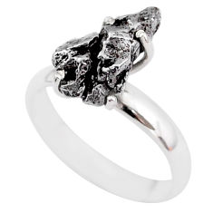 5.54cts natural grey campo del cielo (meteorite) 925 silver ring size 8 t2090