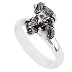 5.54cts natural grey campo del cielo (meteorite) 925 silver ring size 8 t2093