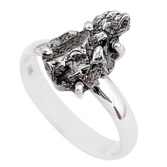 5.54cts natural grey campo del cielo (meteorite) 925 silver ring size 8 t2094