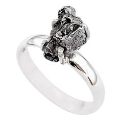 5.02cts natural grey campo del cielo (meteorite) 925 silver ring size 8 t2095