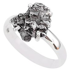 4.78cts natural grey campo del cielo (meteorite) 925 silver ring size 8 t2098