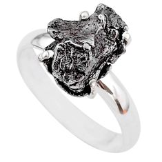 5.82cts natural grey campo del cielo (meteorite) 925 silver ring size 8 t2100