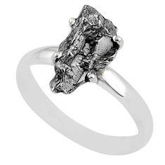 5.23cts natural grey campo del cielo (meteorite) 925 silver ring size 9 t2061