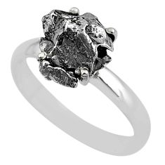 5.23cts natural grey campo del cielo (meteorite) 925 silver ring size 9 t2071