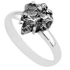 5.06cts natural grey campo del cielo (meteorite) 925 silver ring size 9 t2079