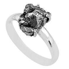 5.23cts natural grey campo del cielo (meteorite) 925 silver ring size 9 t2080